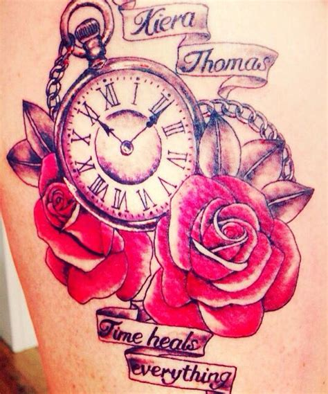 womens rose  clock tattoo rose  clock  memory tattoo  thigh numbers   special