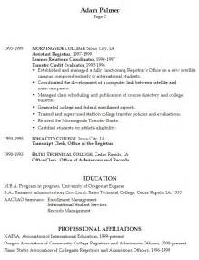 college admission resume objective exles resume exle for a registrar susan ireland resumes