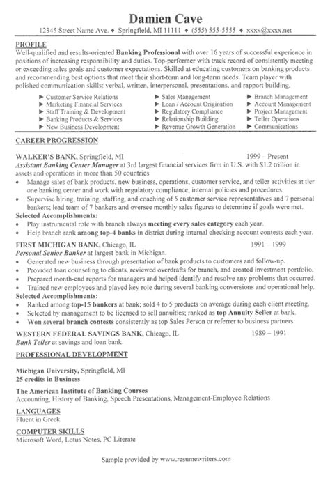 Bank Resume Exles by Retail Banking Resume