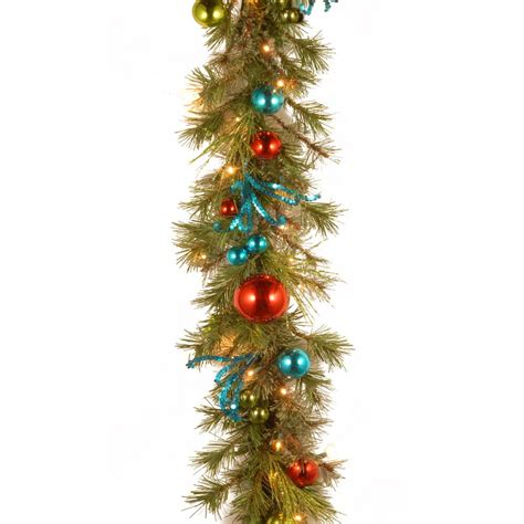 lighted christmas ornament garland decorative collection 9 ft retro garland with battery