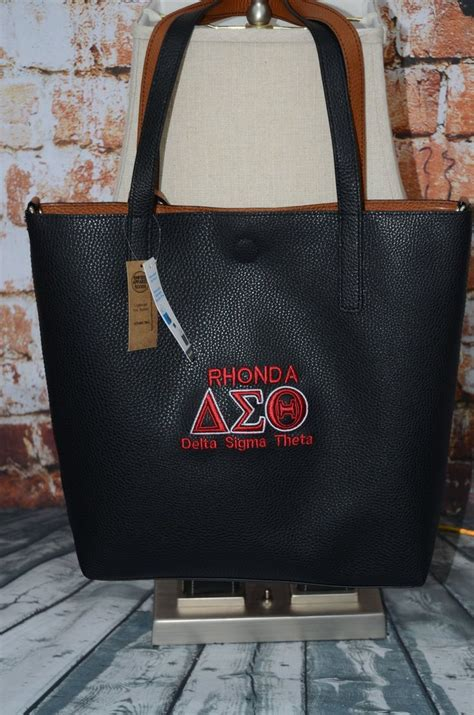 delta sigma theta sorority personalize handbag monogrammed embroidery faux leather tote