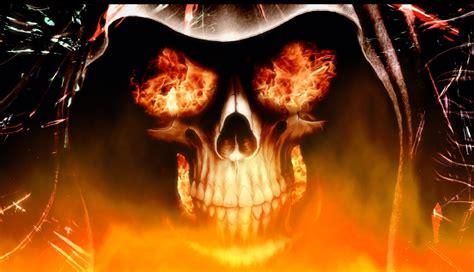 Halloween Live Wallpapers by Free Flaming Skull Wallpaper Wallpapersafari