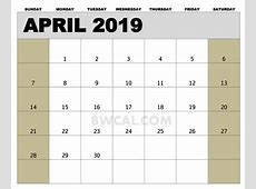 April 2019 Calendar Canada year printable calendar