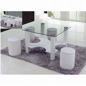 Table Basse 4 Poufs : table basse 4 poufs magda blanc achat vente table basse table basse 4 poufs blanc ~ Teatrodelosmanantiales.com Idées de Décoration