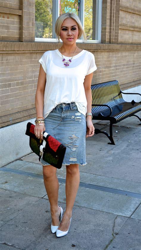 Twentyeightvia Distressed Denim Skirt