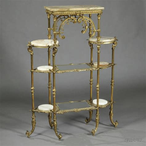 Brass And Glass Etagere by Brass Onyx And Glass Etagere Sale Number 2715b