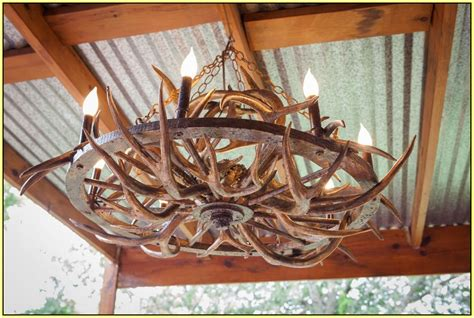Lamp Shade Lowes by Wagon Wheel Deer Antler Chandelier Home Design Ideas