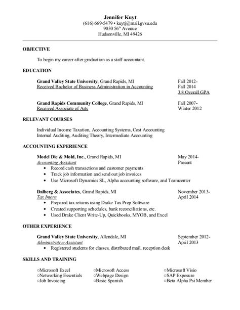 Of Michigan Resume Builder by Kuyt Resume Jan 2015 Staff Accountant