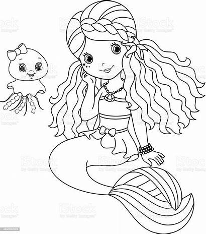 Mermaid Coloring Cartoon Illustration Vector Cheerful Child