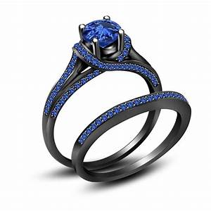 350 ct blue sapphire full black 925 sterling silver for Black and blue wedding ring set