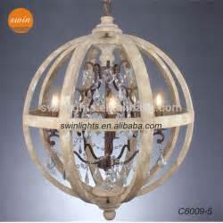 Multi Pendant Light by Vintage Globe Wood Chandelier Retro Iron K9 Crystal