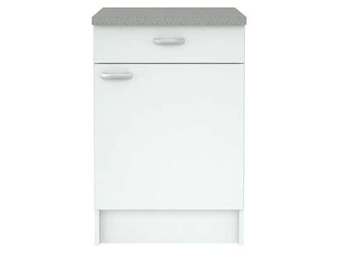cuisine meuble bas meuble bas cuisine 1 porte 1 tiroir casa coloris blanc