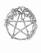Pentagram Sabbat Pagan Yule Wiccan Pentacle Sabbats sketch template