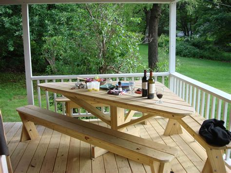 Outdoor Deck Table by Like This Only With Square Table With Bench Built Into