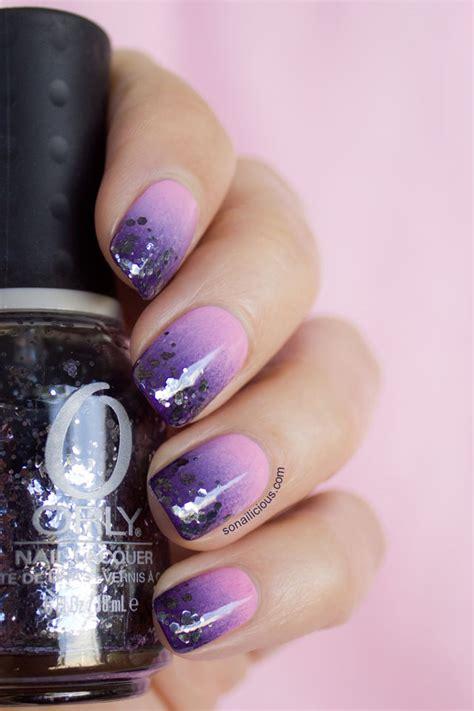 orly atomic splash glitter gradient nail art