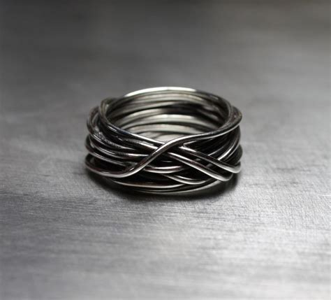 mens ring wedding band wire wrapped ring rustic jewelry