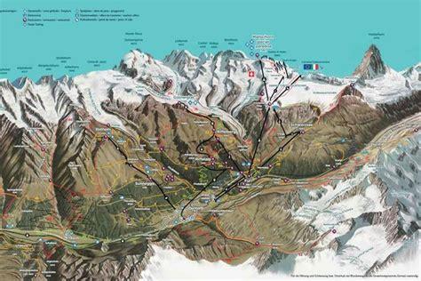 summer panorama map  zermatt switzerland