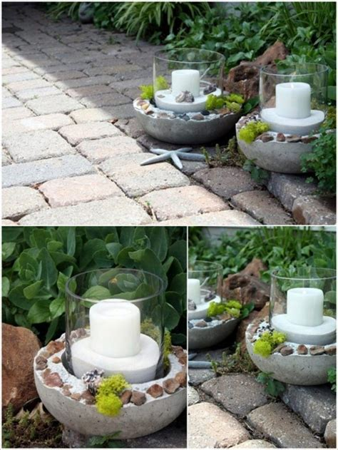 Gartendeko Aus Beton Basteln by Gartendeko Aus Beton Kerzenhalter Windlicht Glas Sand
