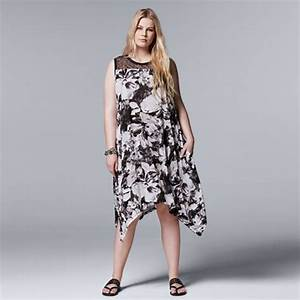 Plus Size Simply Vera Vera Wang Floral Lace Handkerchief Dress