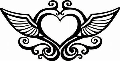 Wings Heart Hearts Clipart Coloring Drawings Cool