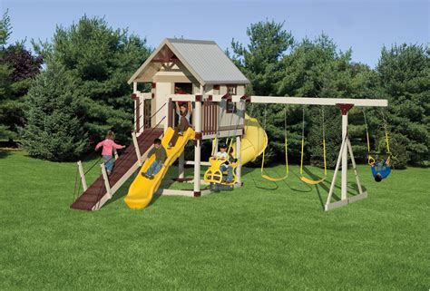 Kid Swing Set by Kid S Outdoor Playsets Swing Sets Vinyl Swing Sets For