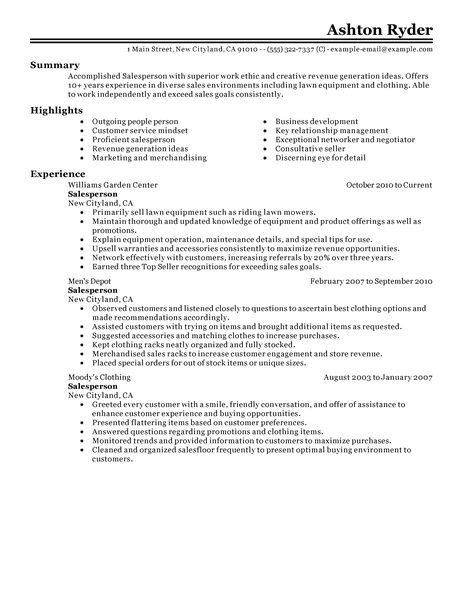 Great Retail Sales Resume by Best Retail Salesperson Resume Exle Livecareer