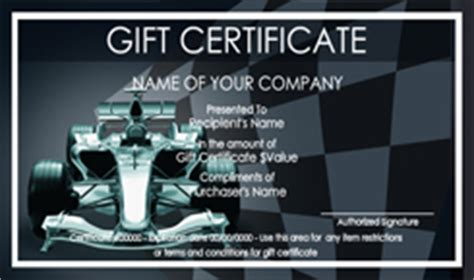 automotive gift certificate templates easy   gift