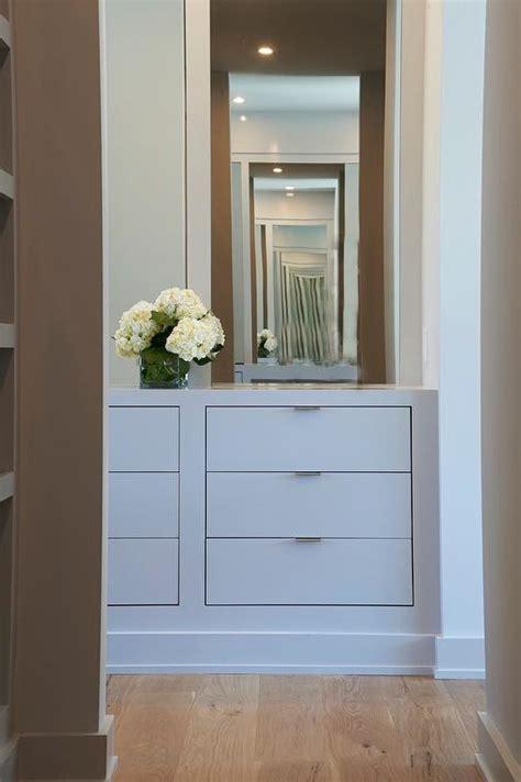 closet  gray built  dresser transitional closet