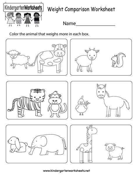 Weight Comparison Worksheet For Kindergarten