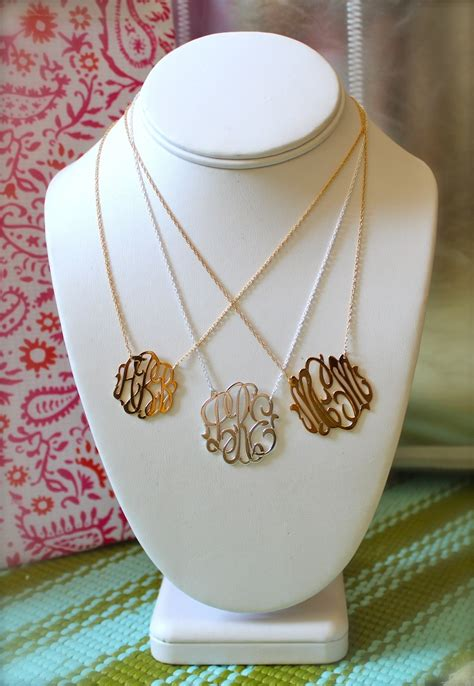 cutout monogram necklace  white yellow  rose gold
