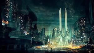 concept art, artwork, cityscape, futuristic, city ...