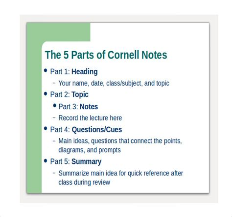 cornell notes powerpoint template 6 cornell notes powerpoints free sle exle format free premium templates