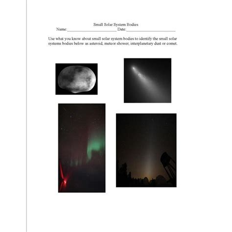 small solar system bodies lesson plan