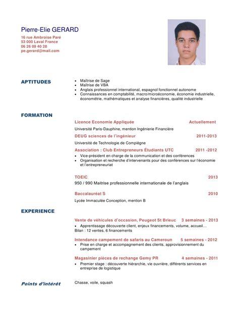 Cv En Francais Pour Etudiant by Comment Faire Un Cv Pour Etudiant