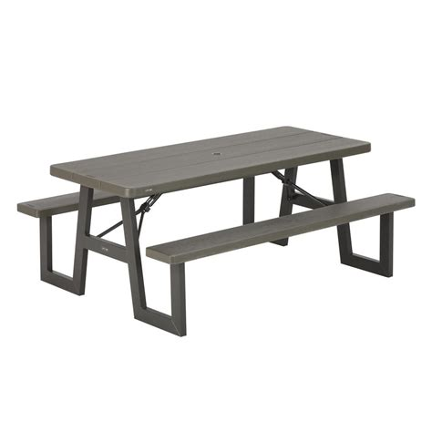 lifetime folding picnic table lifetime 6 ft folding picnic table with benches 22119