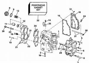 Johnson Cylinder  U0026 Crankcase Parts For 1992 40hp Tj40elenj