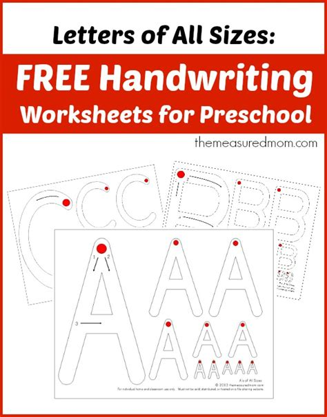 Free Handwriting Worksheets For Preschool Letters Of All Sizes!  The Measured Mom