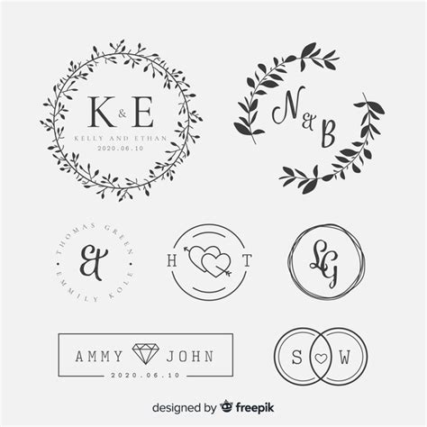 belettering bruiloft collectie vector gratis