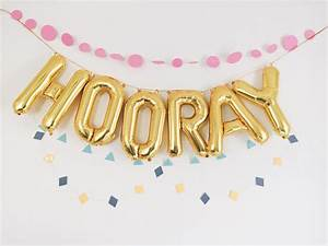 hooray balloons gold mylar foil letter balloon banner kit With mylar letters