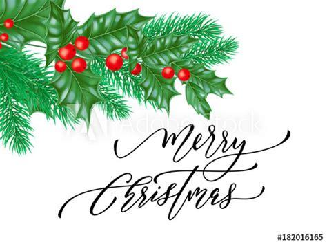 """Merry Christmas trendy quote calligraphy on white premium"