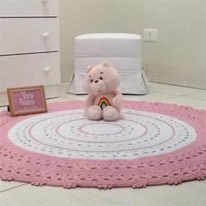 Baby Tapete Rosa : tapete de croch redondo branco e rosa beb nina no elo7 ~ Michelbontemps.com Haus und Dekorationen