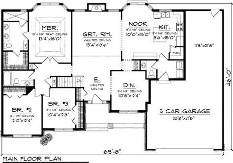 3 bedroom floor plans with garage 3 bedroom ranch floor plans floor plan of ranch