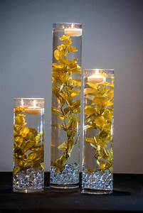 Submersible, Gold, Floral, Wedding, Centerpiece, With, Floating