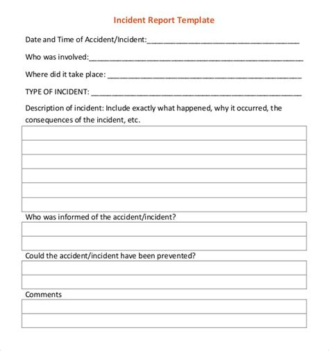 incident report templates   word format