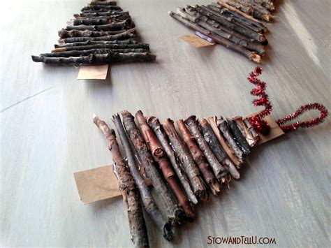 rustic twig and cardboard christmas tree ornaments