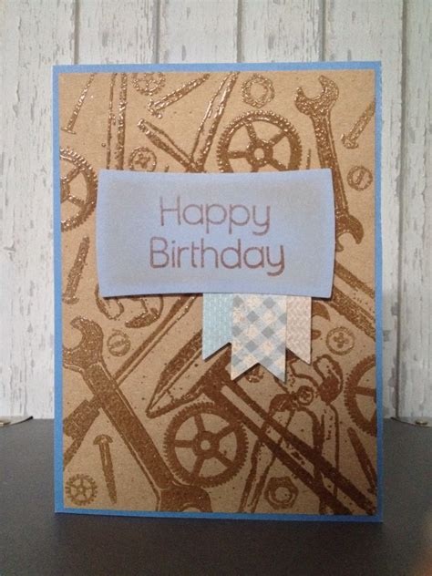 masculine tool birthday card  blue  brown