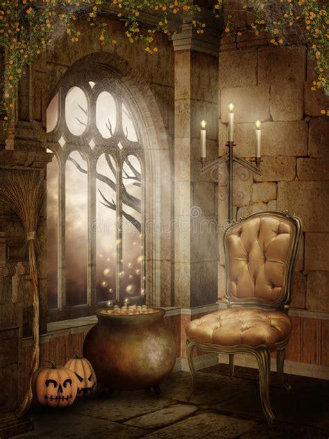 castle room  halloween decorations stock illustration