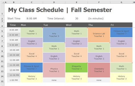 school schedule template back to school transform class schedule to pivottable