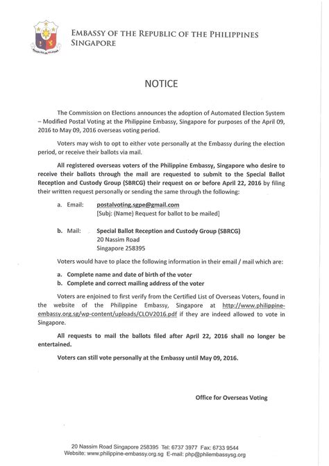 Elections 2016 Important Notice : Embassy of the