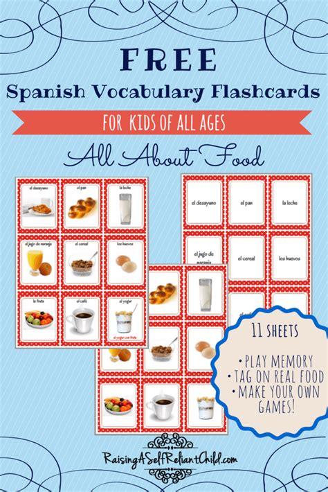 Free Printable Spanish Vocabulary Flashcards Common Foods